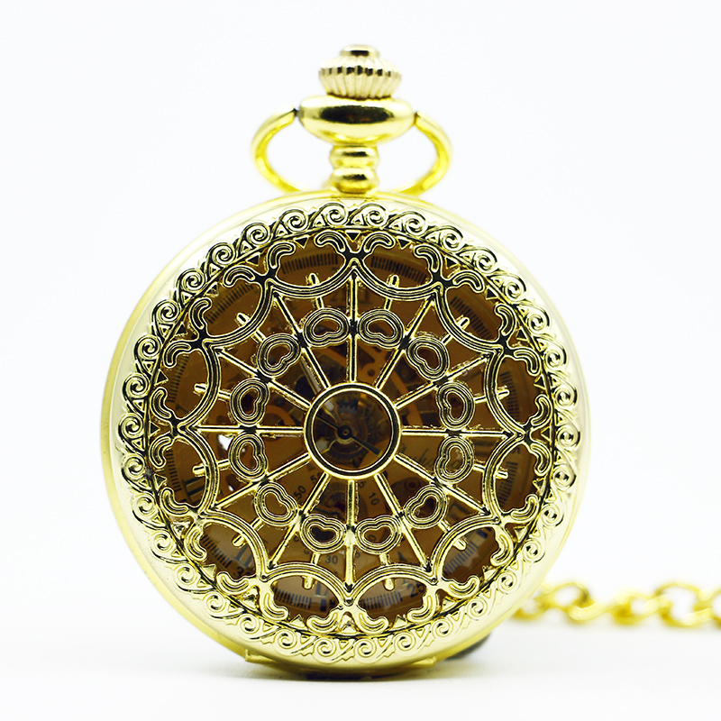 Relogio De Bolso Full Golden Antique Vintage Quartz Pocket Watch Spider Web Hollow For Women Men With Fob Chain PJX1288