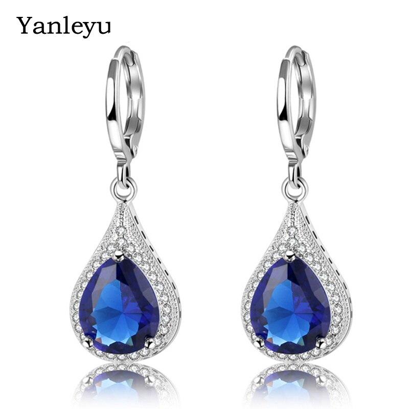 Yanleyu Luxus 925 Sterling Silber Ohrring Blauen Edelstein Stein Wasser Tropfen Kubische Zirkon Baumeln Ohrringe für Frauen Braut Schmuck PE011