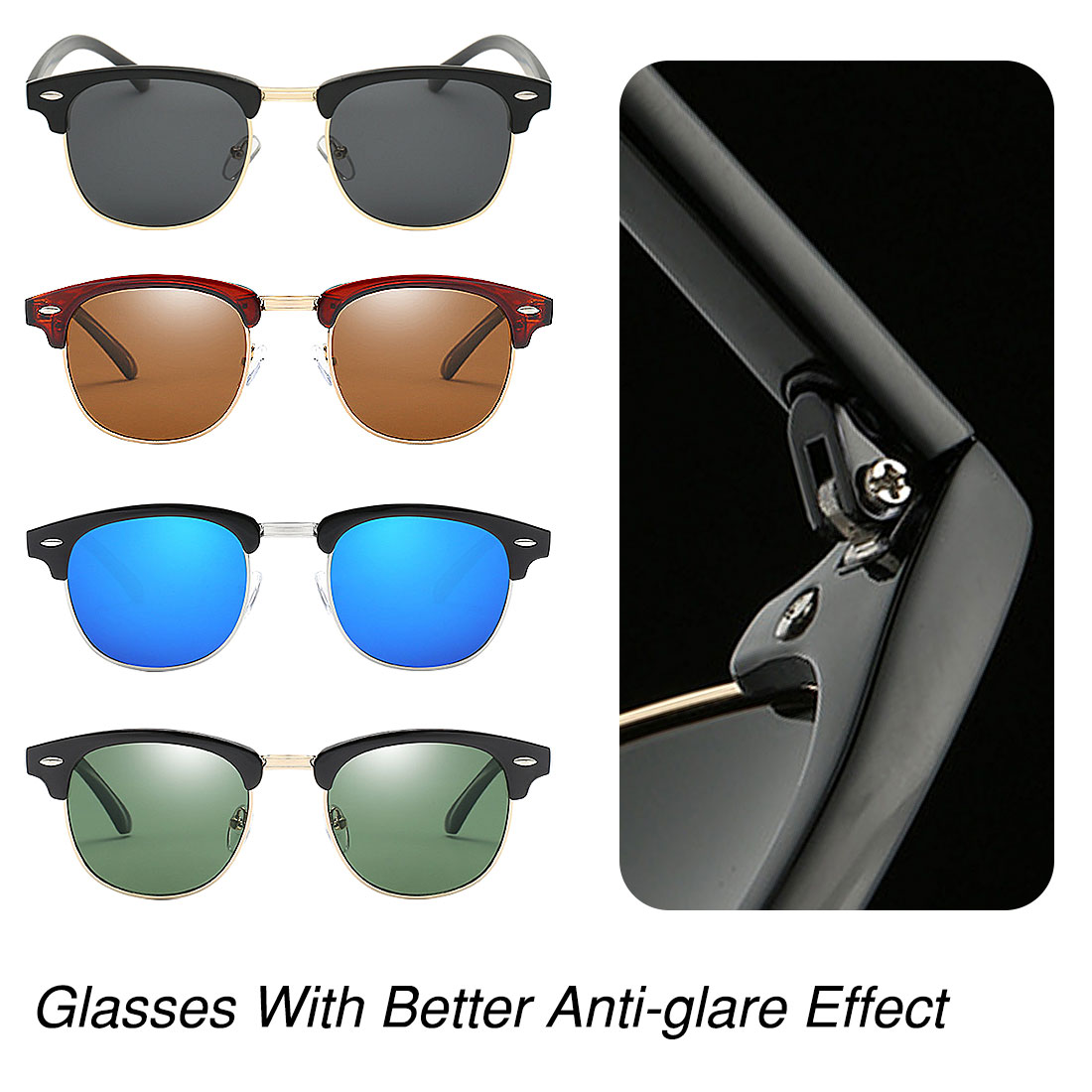 Fashion hight Quality Ultralight Half Rimless Glasses Frame Polarized Lens Unisex Retro Eyeglasses in Men 39 s Sunglasses from Apparel Accessories