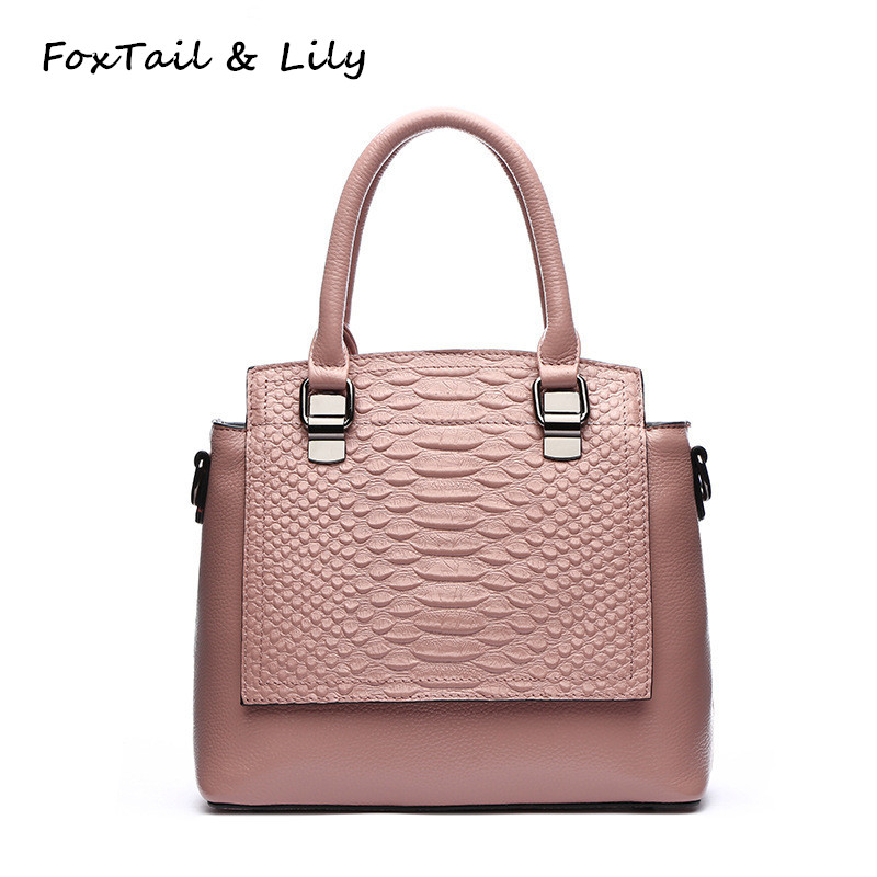 FoxTail & Lily Brand Genuine Leather Crocodile Bags Women Luxury Handbags High Quality Female Shoulder Messenger Crossbody Bags foxtail