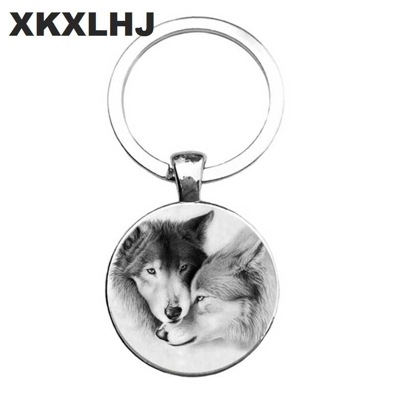 HOT! Trendy Nórdico Wiccan Kovelty Animal Legal Lobo Lobo Chaveiro Titular chaveiro Chaveiro Jóias de Presentes Para Homens