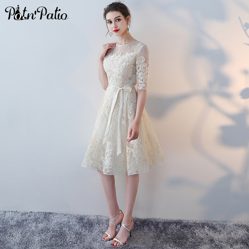 Elegant O Neck Appliques Champagne Lace Evening Dresses Short With