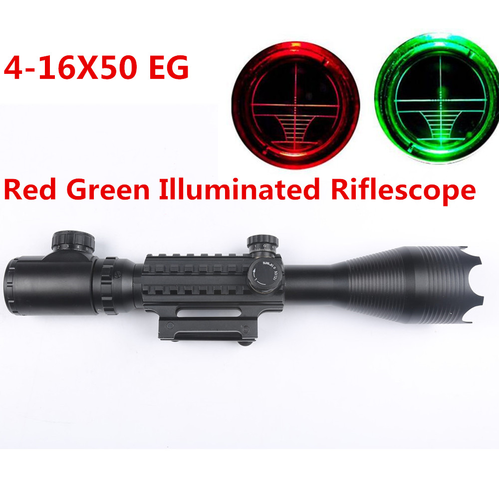 Tactical Optical Rifle scope 4-16x50 Red Green Illuminated Reticle with 200MM Scope Rail Mount for Hunting Air Gun Rifle caza scope camera mount for rifle scope gun scope airgun scope for compact camera casio sony canon nikon fujifilm