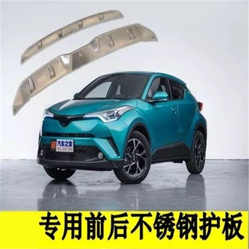 Bâches de voiture en acier inoxydable accessoires avant arrière plaque de protection pare-chocs pour Toyota CHR C-HR 2016 2017 2018 2 pièces