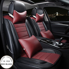 For honda civic 2006-2011 accord crv red beige brand designer luxury pu leather front&rear full car seat covers four season brand soft pu leather car seat cover front and rear full seat for honda civic accord crv fit waterproof easy clean seat covers