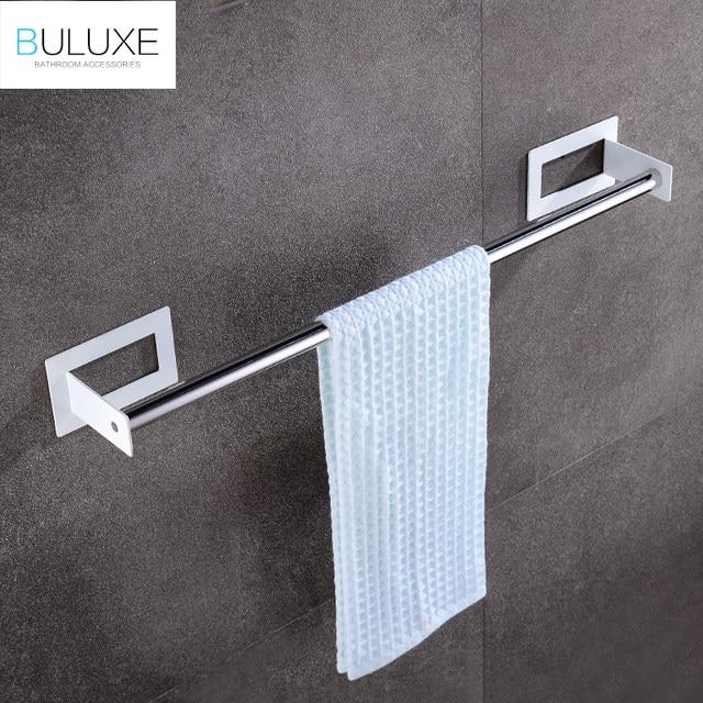 Online Shop BULUXE Bath Self Adhesive Towel Bar Brushed Stainless - Brushed stainless steel bathroom accessories