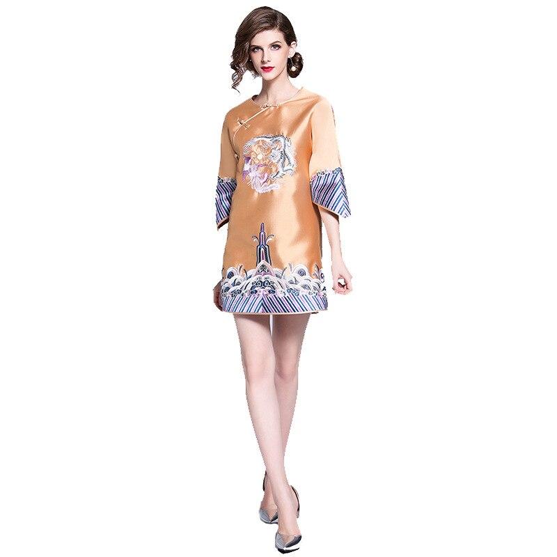 Automne nouveau Style chinois pour femmes broderie lourde Dragon et Phoenix Cheongsam robe Costume amélioré