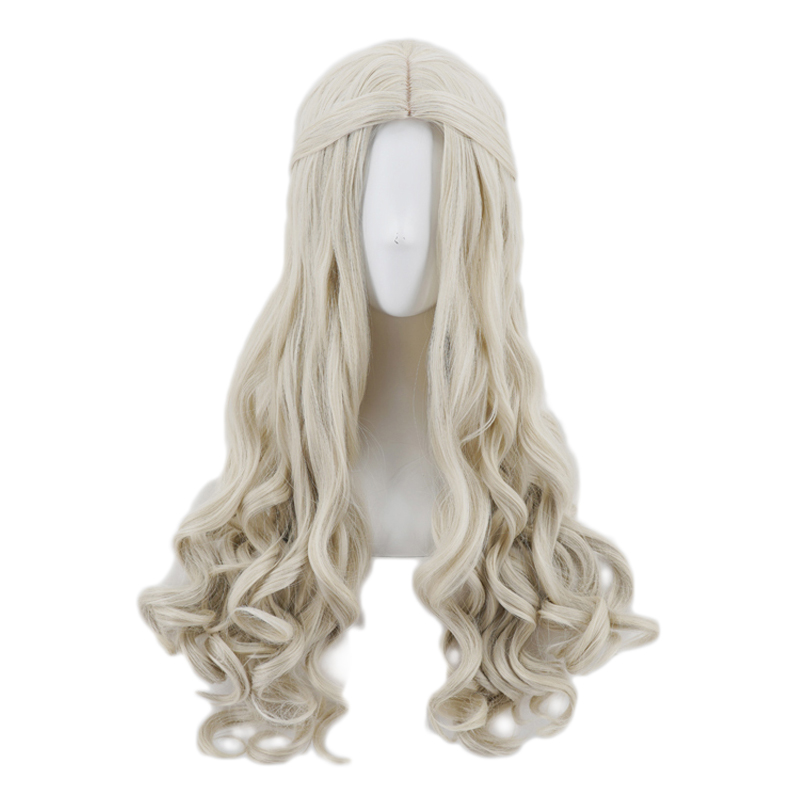 Anime Alice in Wonderland The White Queen Long Wavy Curly Wig Cosplay Costume Women Synthetic Hair Wigs Halloween Party Wigs