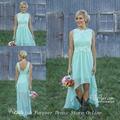 Free Shipping Romance Summer High Low Chiffon Lace Bridesmaid Dress Women Gown in Mint Green Color BD237