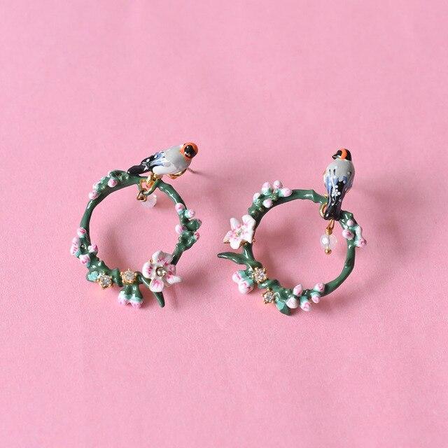 Les Nereides Enamel Circle Stud Earrings For Women Romantic Cherry Series Twitter Bird Jewelry Fashion Accessories New