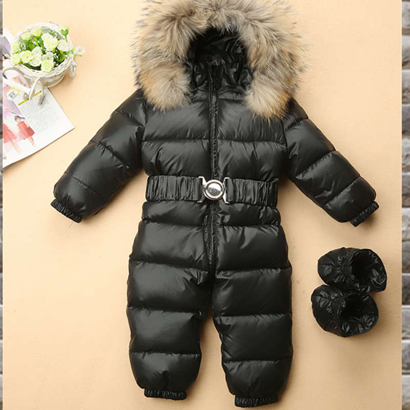 Russia Winter Baby Snowsuits Kids Jumpsuit Hold -25 18M-4T Boy Girls Warm Natural Fur Down Jacket Kids Clothes Infantil Rompers baby snowsuits jumpsuit russia winter clothing warm coats snow wear down jacket for boys girls kids clothes infantil rompers