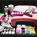 Pro 36 W UV GEL Lâmpada & 12 Cor UV Gel Prática dedos Cortador DIY Nail Art Kits Ferramenta Sets AT-018 conjunto jogo de manicure conjunto