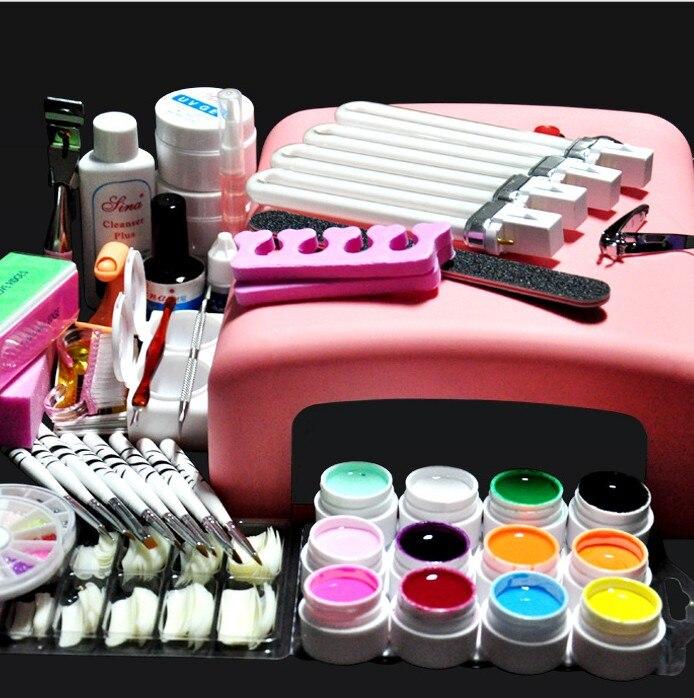 Pro 36W UV GEL Lamp & 12 Color UV Gel Practice Fingers Cutter Nail Art DIY Tool Kits Sets AT-018 set manicure set
