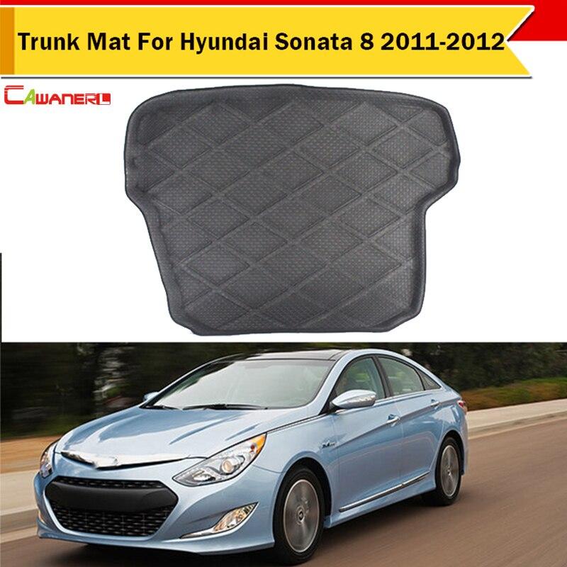 Cawanerl Black Car Cargo Carpet Boot Tray Liner Mat SUV Trunk Protector Floor Mat Easy Cleaning For Hyundai Sonata 8 2011-2012