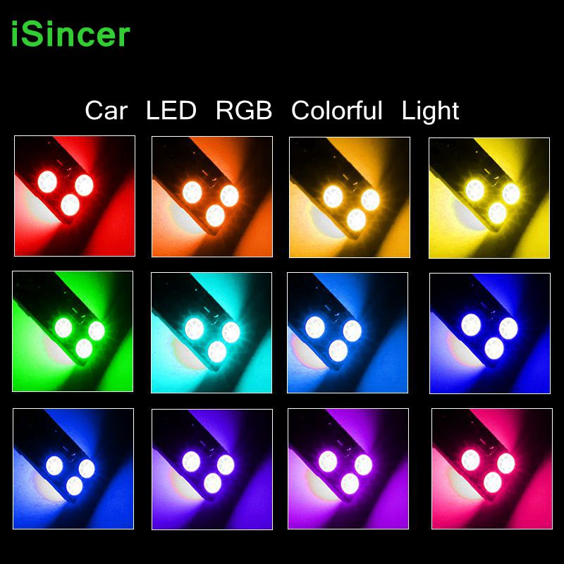10 Sets T10 RGB Multi Colors Changing LED Lamp Bulb Car styling Colorful Auto Car Interior Light with Remote Control Bright keyshare dual bulb night vision led light kit for remote control drones