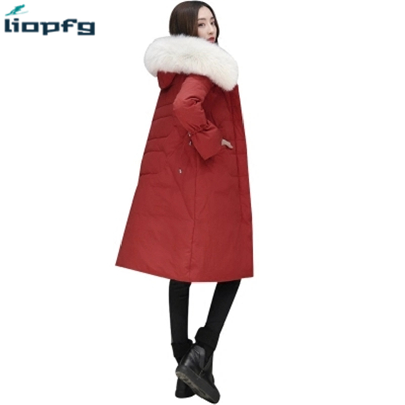 New Winter coat Women Down Jacket Super Large Real Raccoon Fur Collar Down Cotton Coat Thick Warm Hooded Parkas elegant TP044