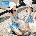 Entre padres e hijos familia madre e hija spa traje de baño pieza estilo de la falda vientre cubierta de las muchachas lindas de spa de lujo