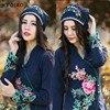 Ethnic Skullies 2016 Women Spring Autumn Winter Spain Style Hippie Vintage Dark Blue Embroidery Beading Beanies