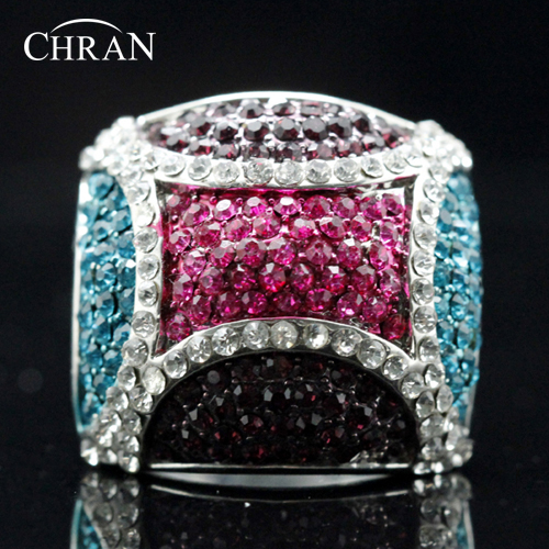 Chran Unique Design Crystal Costume Rings Jewelry Wholesale Fashion Rhodium Plated Engagement for Women