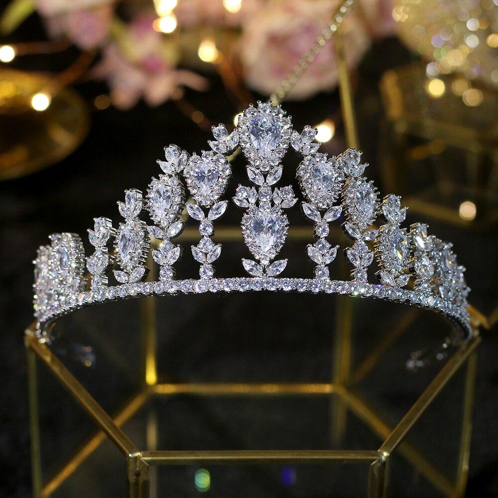 Fashion luxury retro CZ ZIRCON princess crown bride wedding banquet beauty tiaras jewelry dressing free shipping