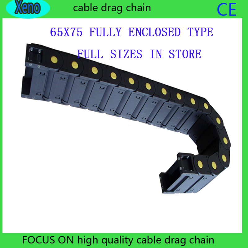 цена на Free Shipping 65*75 1 Meter Fully Enclosed Type Plastic Towline Cable Drag Chain Wire Carrier With End Connects For CNC Machine