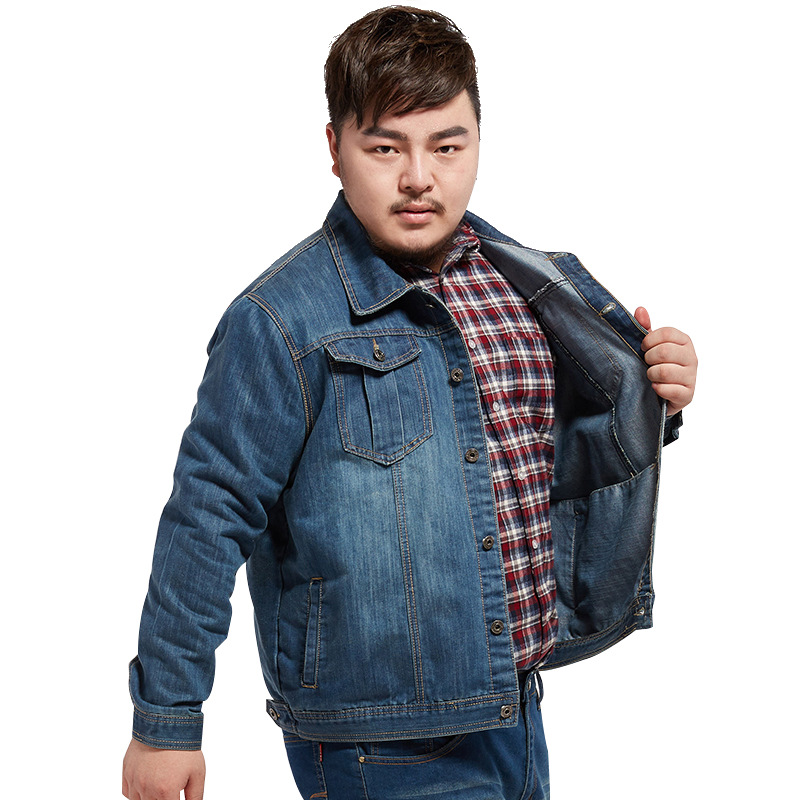Jeans Jacket Men <font><b>Plus</b></font> <font><b>Size</b></font> <font><b>5XL</b></font> <font><b>6XL</b></font> <font><b>7XL</b></font> <font><b>8XL</b></font> Denim Jackets Thick Cotton Cowboy Coats Veste Homme Casual Autumn Jean Mens Boy Coat image