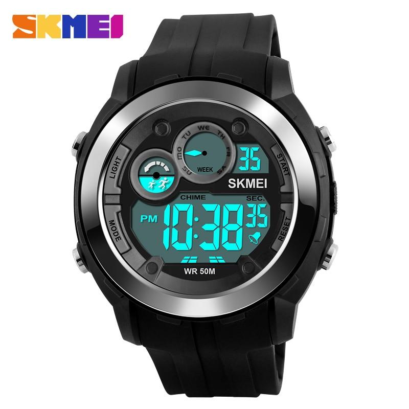 SKMEI 1234 Outdoor Sports Watches Men Digital Wristwatches Alarm Black Light Waterproof Top Brand Luxury Male