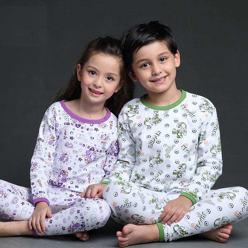 Children's Unisex Cotton Long Sleeves Pajama Set Girls Pajamas for Spring and Fall Kids' Sleepwear Set sheep embroidered top and pants pajama set