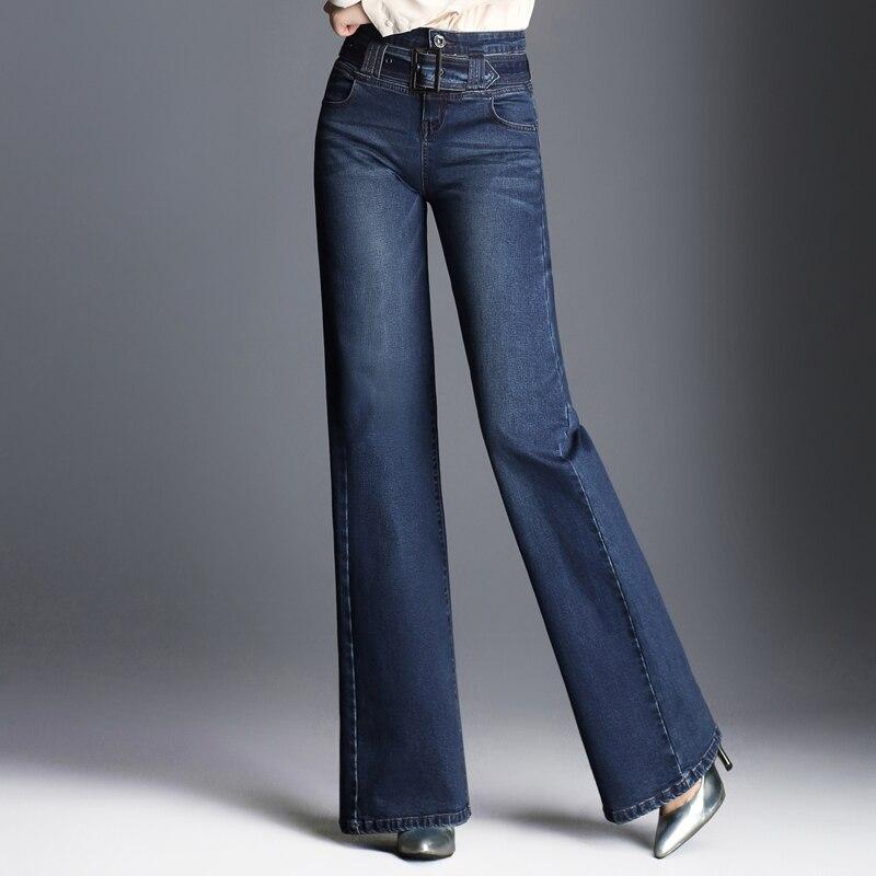 Jeans Les Mélange Jambe Coton Femmes Pleine Taille Denim Large Mode Plus Nouveau p2 P1 Ceintures Pantalon Casual Pour Automne Ylq0802 Printemps Longueur Bleu La WqSA7wUfn