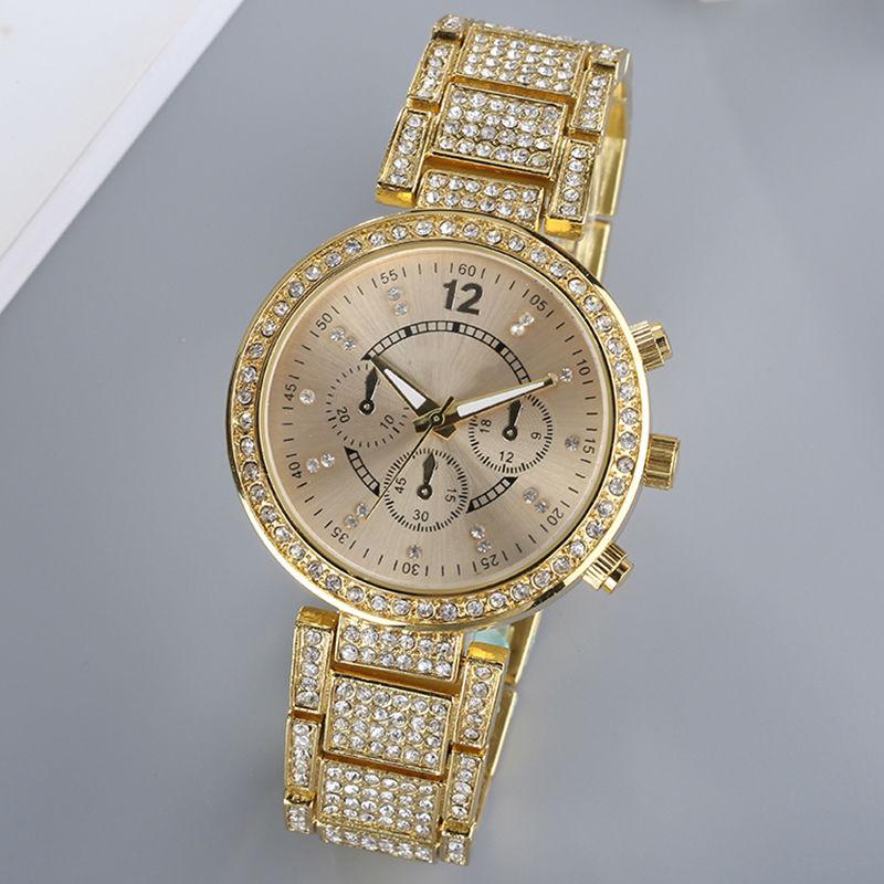 Montre Femme Fashion Women Watches Alloy Strap With Many Luxury Crystal Elegant Lady Wristwatch Quartz Analog Watch Geneva Style