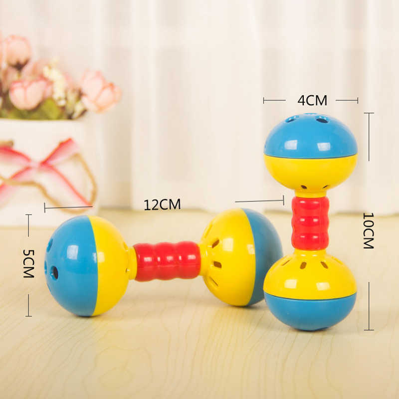 Hot 1Pc Baby Infant Bed Stroller Rattles Kids Plastic Double Head Music Hand Shaking Bell Early Educational Toys for Children
