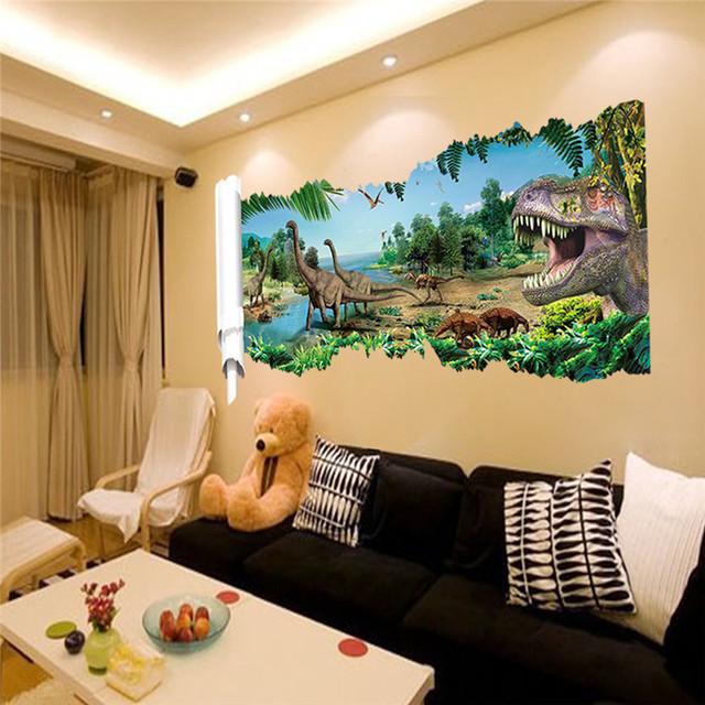 World Park Dinosaurs Wall Stickers For Kids Rooms Boy Room Decoration 3d  Window Effect Wall Decals