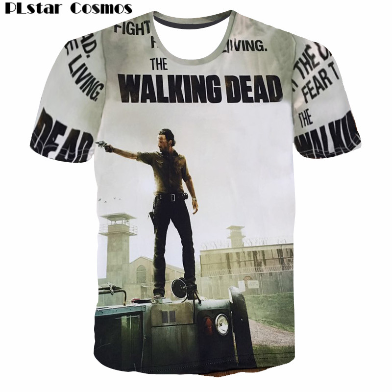 PLstar Cosmos New The Walking Dead Paparazzi T-shirt Rick Grimes Carl Daryl Michonne zombies 3D zomer vrouwen / mannen tee t-shirt