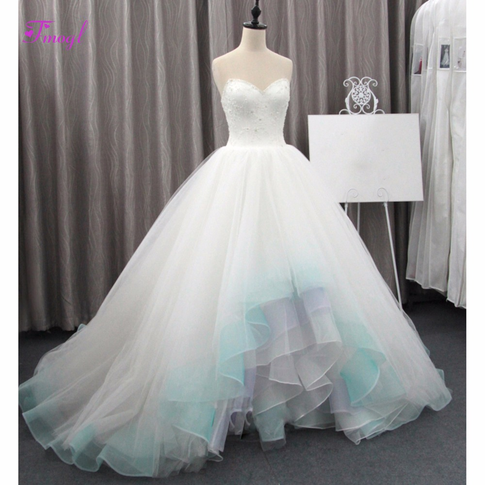 Fmogl Sexy Strapless Appliques Beaded Ball Gown Wedding Dress 2019 Tiered Ruffles Organza Bohemian Wedding Gown