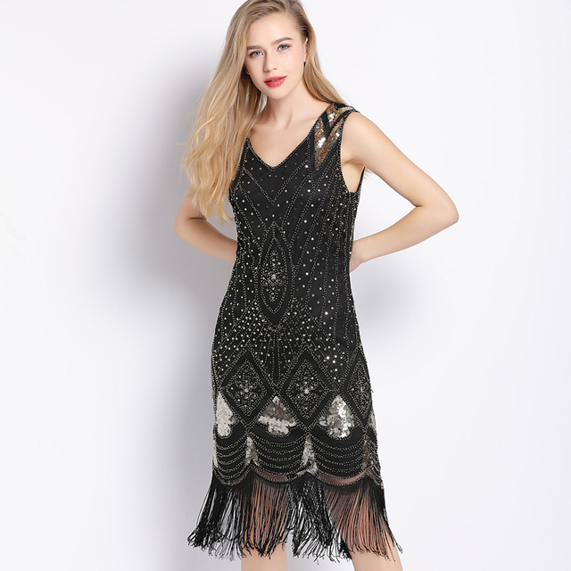 Great Gatsby Deco Style Charleston Fringe Flapper Dress