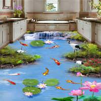 Beibehang Pittura carta da parati di alto livello nove pesci mappa di loto carpa 3d pavimenti in pittura papel de parede carta da parati per le pareti di froors 3 d