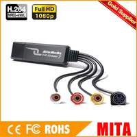 Tarjeta de Adquisición de USB 1-canal de 3 Fichas Chip de Captura de Vídeo USB Tarjeta de Captura de la Vigilancia (C039P)