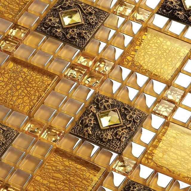 gelbe farbe kristall glas gemischte diamant mosaik fliesen. Black Bedroom Furniture Sets. Home Design Ideas