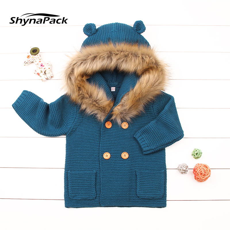 Winter Warm knitted wool baby jacket with Detachable fur collar great cardigan Knitwear for newborn infant baby age 0-2 years shawl collar knitted open front longline cardigan