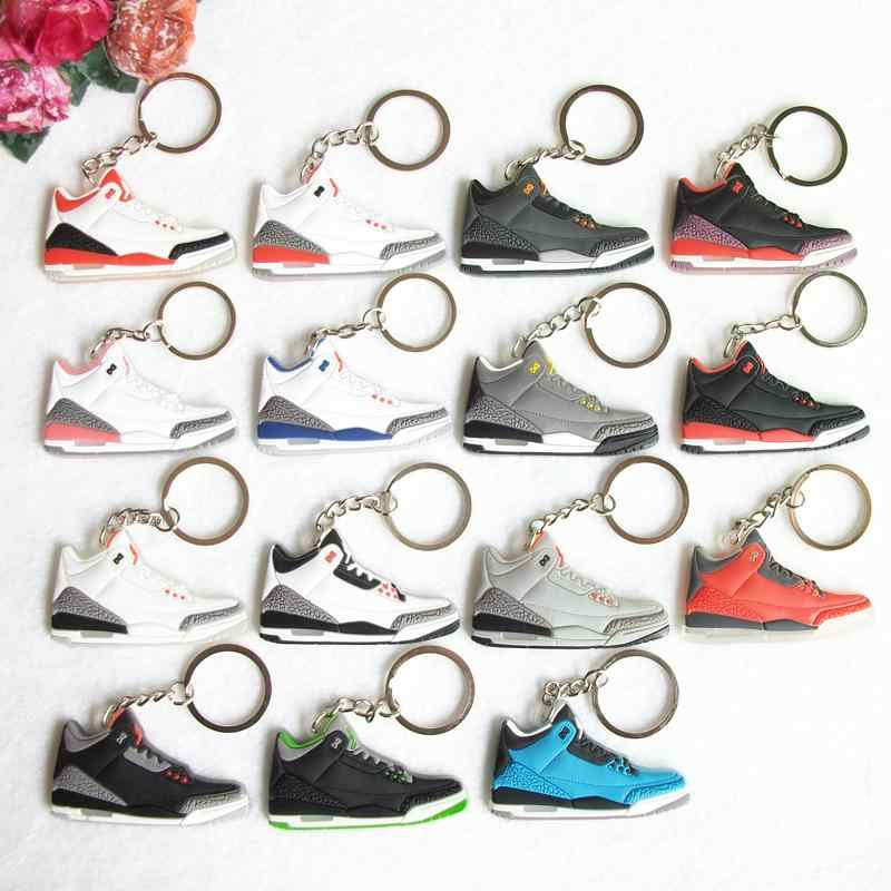 Mini Silicone Jordan 3 Homens Mulher Kids Presentes Chave Anel Keychain Bolsa Charme Acessórios Pingente de Chave Titular Chave Sapatos Sneaker cadeia