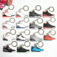 Mini Silicone Jordan 3 Keychain Bag Charm Woman Men Kids Key Ring Gifts Sneaker Key Holder Pendant Accessories Shoes Key Chain(China)