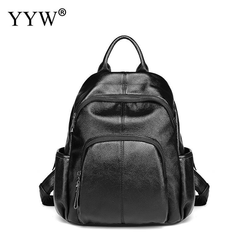 Mode peau de vache sac à dos en cuir noir filles sac d'école grande capacité imperméable Pu cuir sac à dos sac style décontracté Mujer 2019