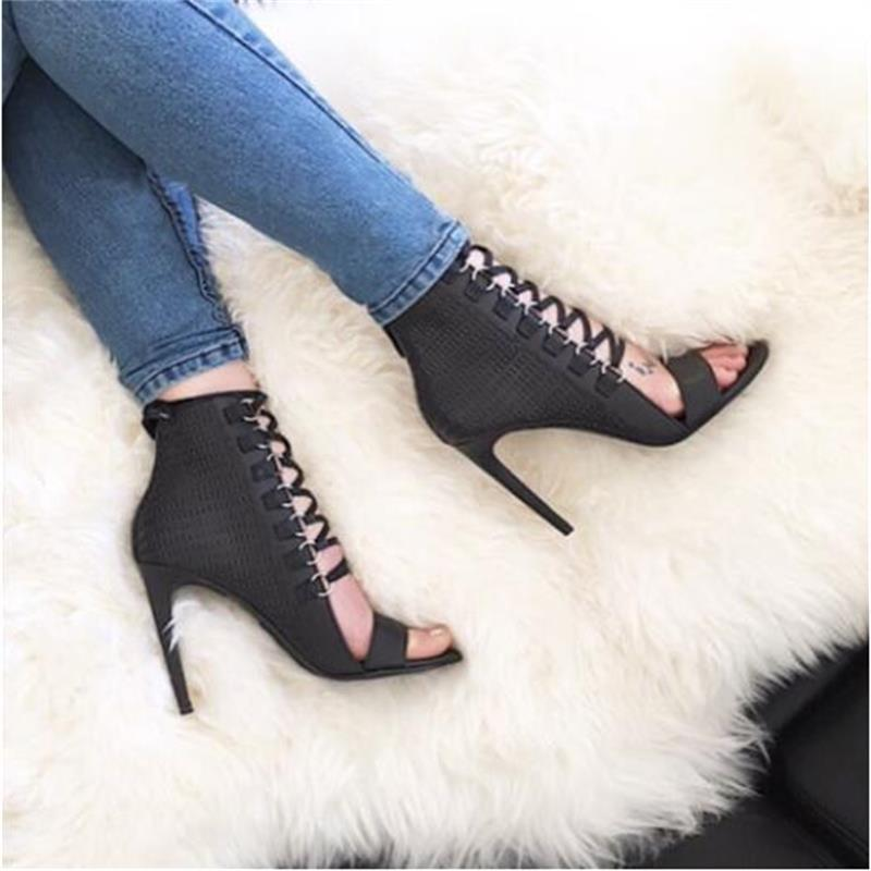 Fall Fashion Woman Open Toe Shoes Pu Embossed Ankle Boots Stilettos High Heels Gladiator Roman Sandals Cross-Strap Women Shoes цены онлайн