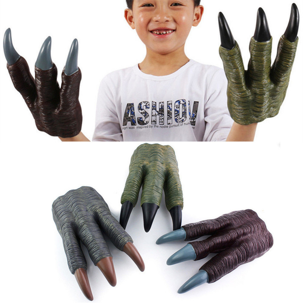 Dinosaur Claw Gloves Hands Halloween Party Cosplay Trick Prop Kid Toys Green
