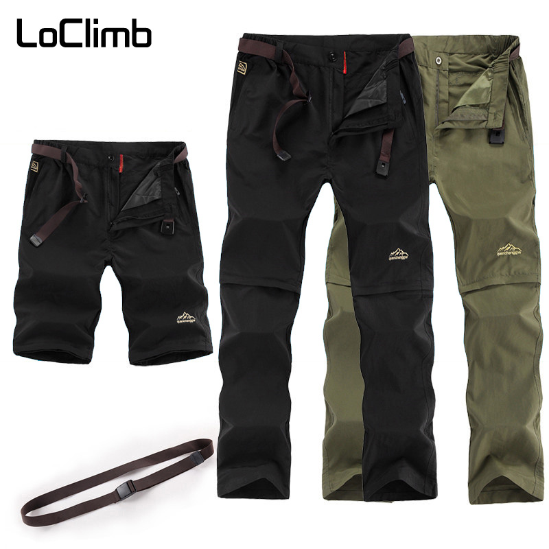 LoClimb Outdoor Hiking Pants Men Removable Quick Dry Waterproof Trousers Man Mountain Trekking Pants Men's Sports Shorts AM209