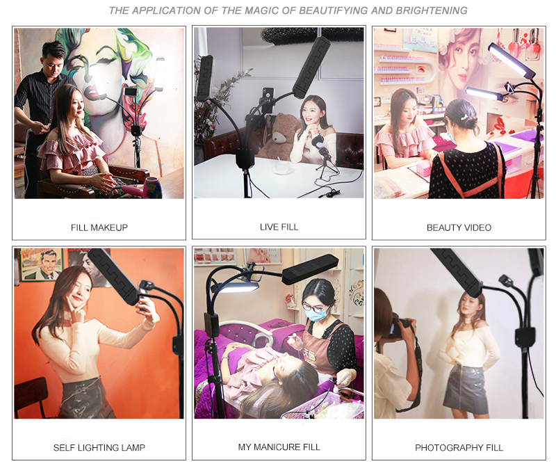 for Photo Studio Live Broadcast 40W Double Arms Fill LED Light Long Strips 3300K-5500K LED Light with Cellphone Holder