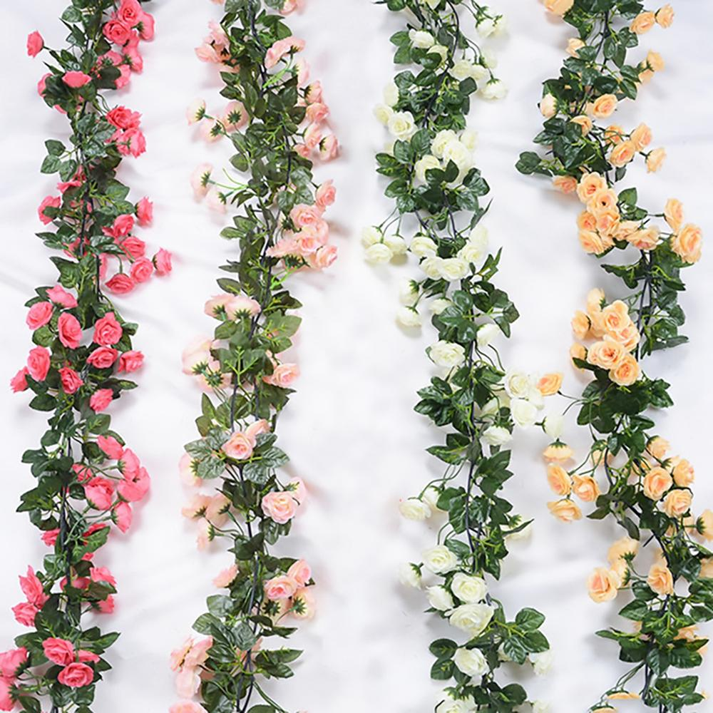 Artificial Rose Flower Fake Hanging Decorative Roses Vine Plants Leaves Artificials Garland Flowers Wedding Wall Decoration in Party DIY Decorations from Home Garden