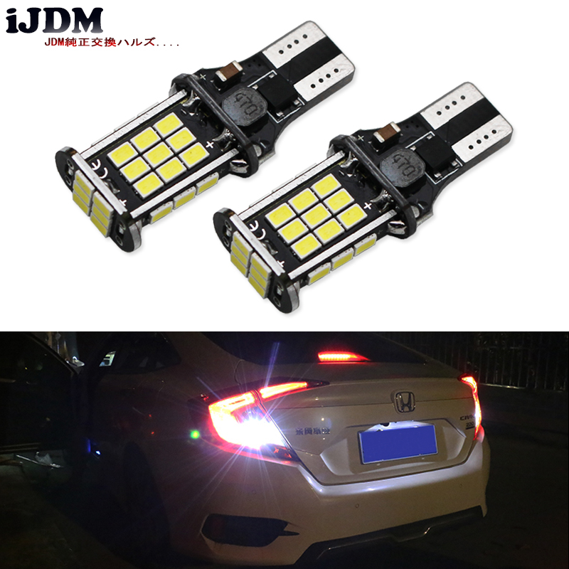 iJDM Car T15 LED Error Free 912 921 W16W LED Bulbs European Cars For Audi BMW Mercedes Porsche Volkswagen Backup Reverse Lights 2pcs brand new high quality superb error free 5050 smd 360 degrees led backup reverse light bulbs t15 for skoda rapid page 1