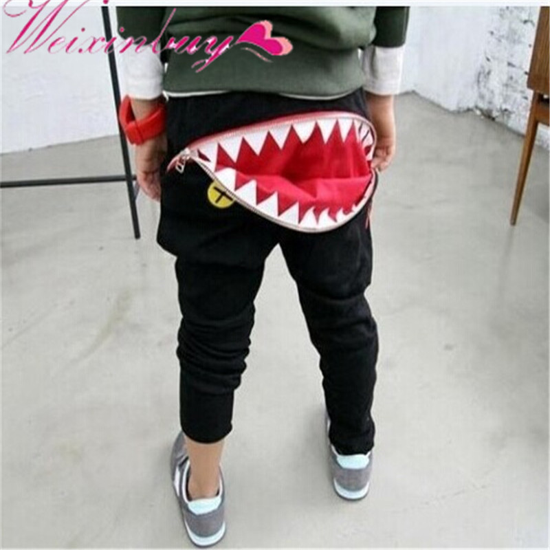 Casual Harem Pants Toddler Loose Trousers Newest Baby Kids Boys Girls Zipper Design color splicing inclined zipper beam feet harem pants