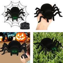 Radio Control RC Animals Simulation Furry Tarantula Electronic Halloween Spider Toy Children Kids Gift Halloween Festival Toys(China)
